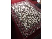 Patterned rug for sale - cream with burgundy border
