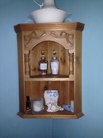 Pine corner shelving unit and mirror