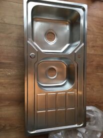 One and half stainless steel sink
