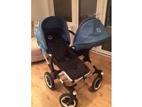 Bugaboo Donkey Duo Buggy with Petrol Blue Accessories and Fabrics EXCELLENT CONDITION