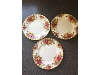 Royal Albert old country roses three side plates