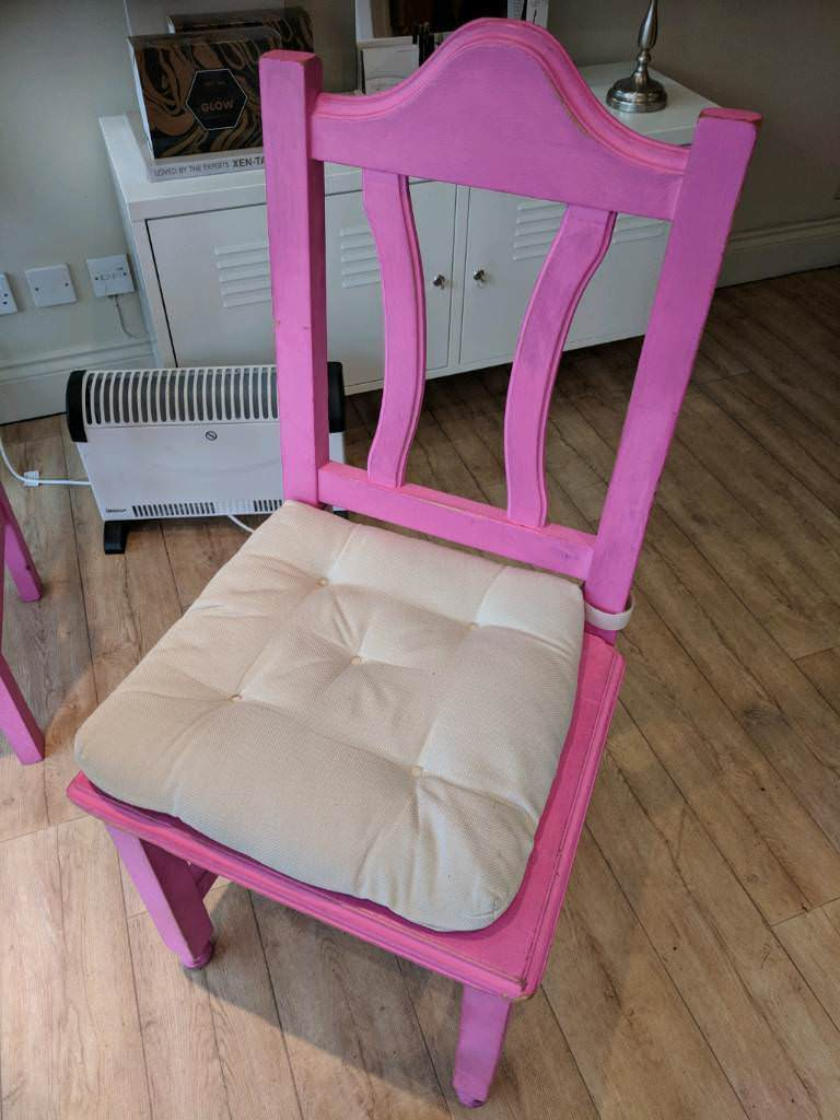 2x pink solid wooden chairs