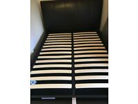Black Faux Leather Ottoman Bed Frame + IKEA Double mattress