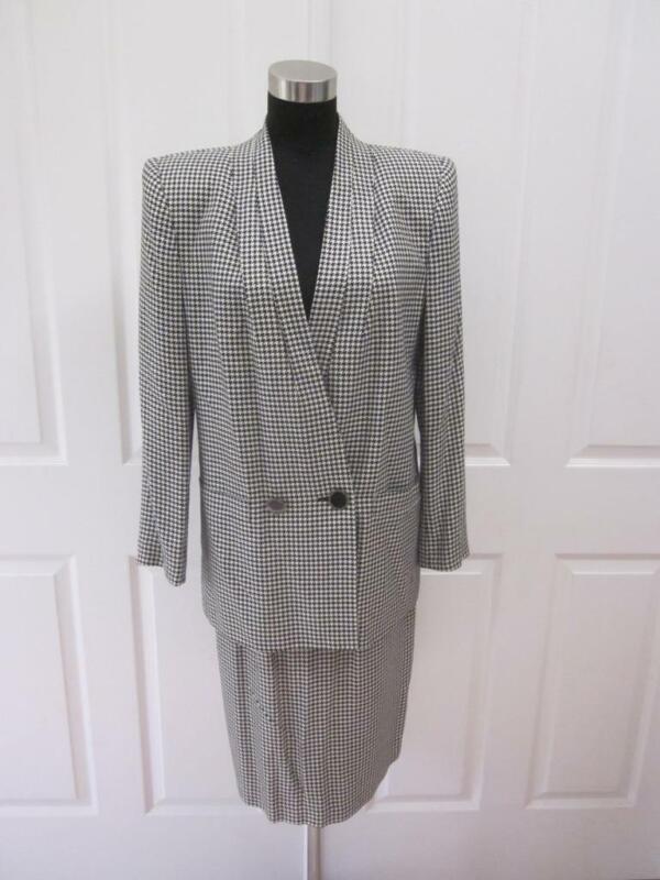 VTG KASPER Black & White Houndstooth 2 Pc Big Shoulder Jacket & Skirt Suit 6 8