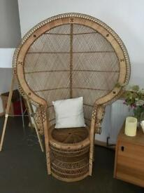 Large wicker peacock chair - excellent condition