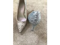Ombré rose gold and silver glitter heels size 5 worn once
