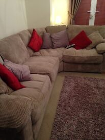Beige L-shaped large settee, soft cord material, super comfy, perfect condition. House of Fraser.