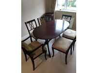 Strongbow dining room table and chairs