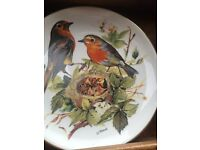 "8 COLLECTORS PLATES WITH WOOD WALL DISPLAY UNIT, WWF BIRDS OF EUROPE WORLD WILDLIFE, 7.5"" DIAMETER"