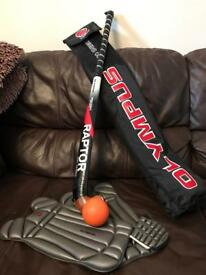 Hockey set, stick, stick bag, ball, glove, two shin pads