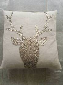 Sequined Stag Cushion