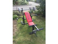 Fit for Life adjustable weight bench, with bar & 20kg weight.