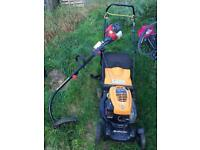 Petrol mower and petrol strimmer