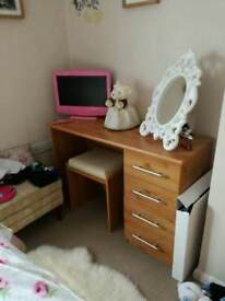 Bedroom furniture wardrobe dressing table and stool bedside drawers