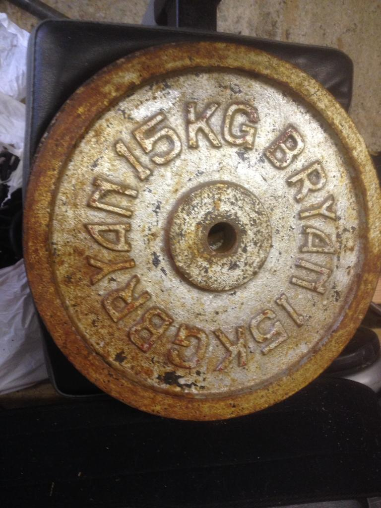 15kg Cast Iron barbell weight plates