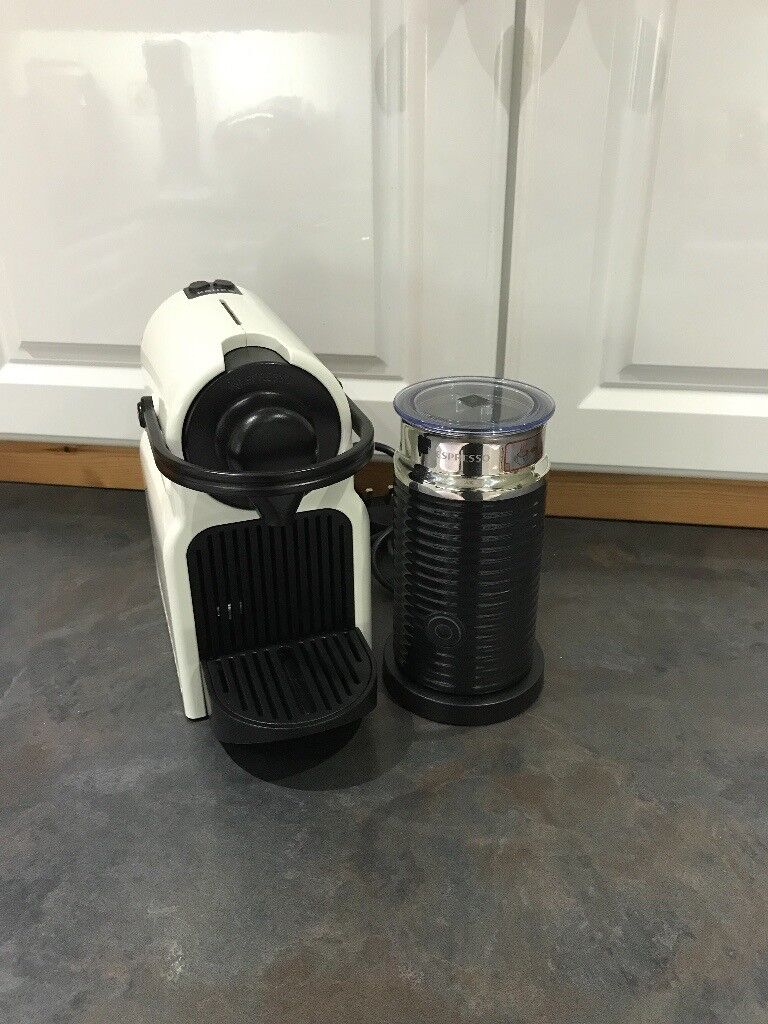 KRUPS NESPRESSO COFFEE MACHINE IN WHITE WITH AEROCCINO, USED TWICE ONLY, UNWANTED PRESENT