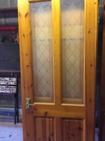 6 x Solid Pine Doors with brass handles and hinges - used, v. good condition