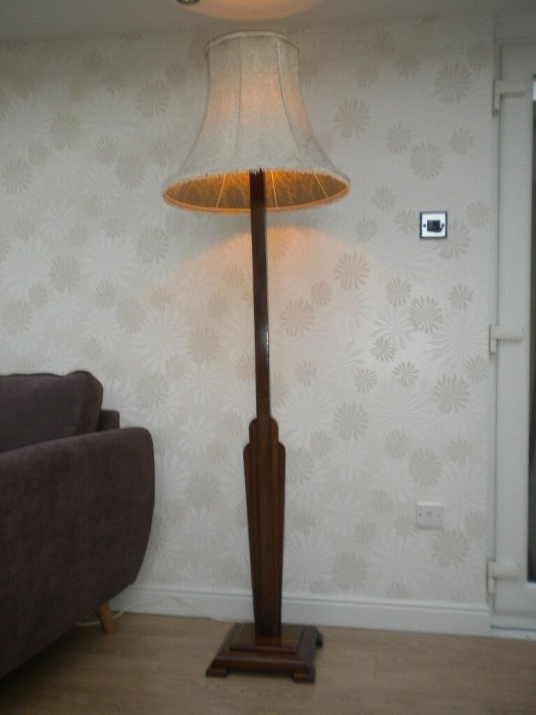 Authentic Art Deco Floor Standard Lamp Shade Antique Mid
