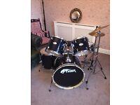Full size 7 peice drum set, stool and key - Used