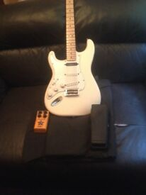 Fender strat lefty with hot rail in neck.good condition plays great