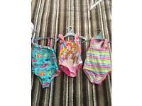 3 x Girls Swimming Costumes 3-4yrs
