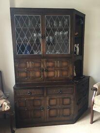 Dark Oak Display Cabinet/Dresser with Leaded Glass Doors, Drinks cabinet and cupboards.