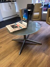 White Glossy Meeting Room Table with 4 black meeting room chairs and glossy coffee table (£300)