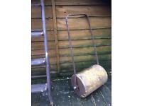 vintage cast iron garden roller / garden decoration £25