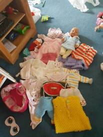Boy doll and clothes etc