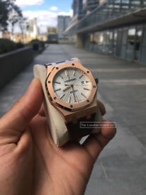 Presenting you The Audemars Piguet Royal Oak, 41mm, Black Dial, Rose Gold, Brown Croc Strap