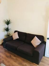 DFS 3 seater chocolate sofa