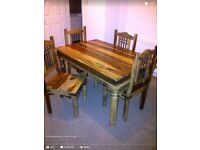 Jali Indian solid wood dining table and 4 chairs Nottingham