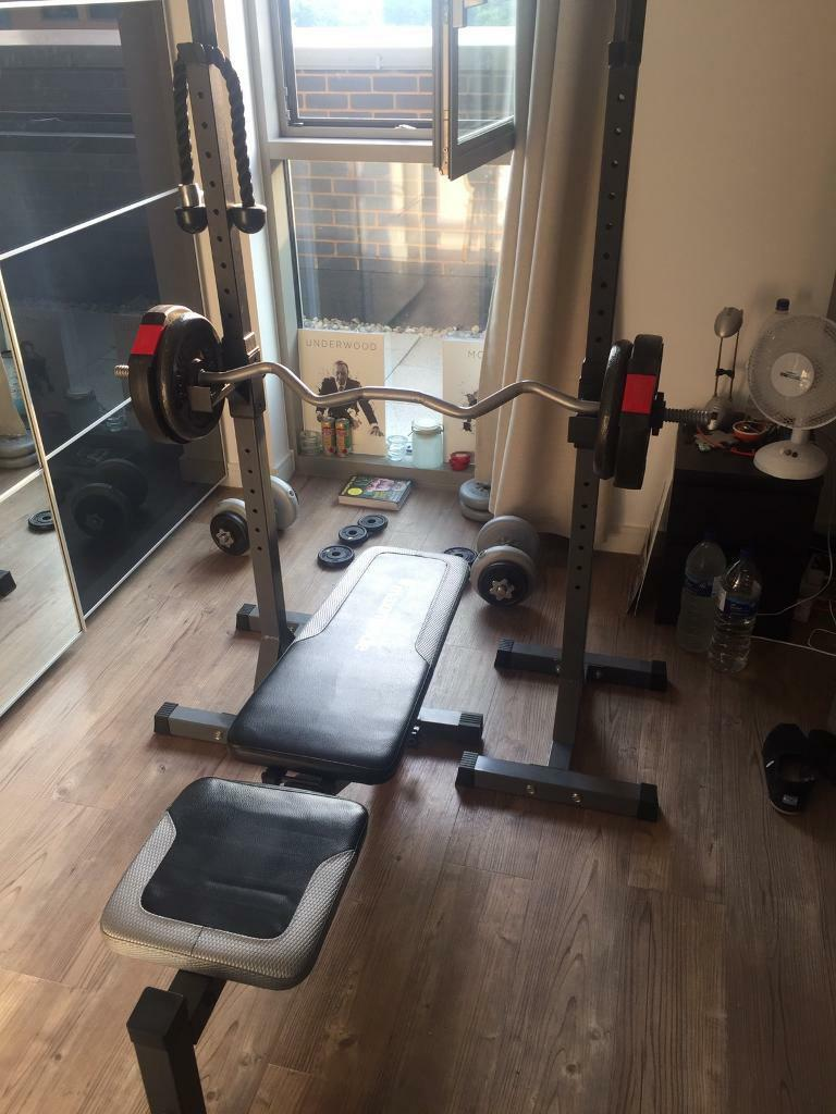Fitness Weights benchaccessoriesin LondonGumtree - Maximiser adjustable bench cable pulldown attachment leg raiser attachment Preacher pad DTX squat rack (also doubles up at bench press) weights not included