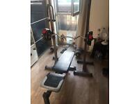 Fitness Weights bench + accessories.