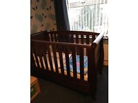 Sleigh style Cot Bed walnut