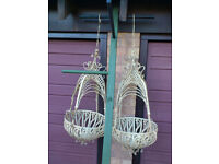 A PAIR OF LARGE ORNATE HANGING BASKETS