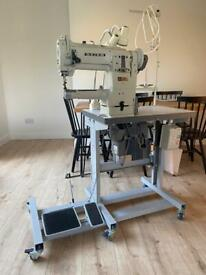 Seiko small cylinder arm industrial sewing machine with custom flat bed attachment