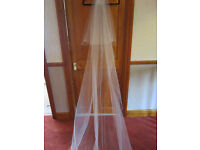 10ft white wedding veil +tiny diamante very subtle to not spoil look of train NEVER USED