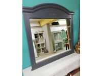 Extra large vintage, painted overmantle mirror