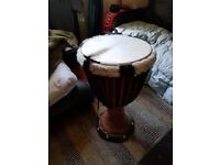 Djembe from senegal mint condition recently reskined with carry bag