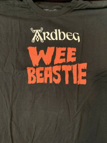 ARDBEG SCOTCH WHISKY WEE BEASTIE T SHIRT SIZE LARGE IMPOSSIBLE TO FIND BRAND NEW