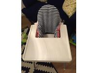 White Ikea Antilop high chair with washable cushion