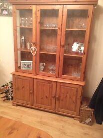 Pine dresser - 127cm wide - very good condition - storage in cupboards at bottom