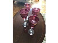 4 ruby wine glasses
