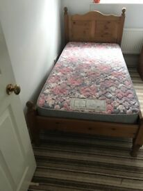 Immaculate solid pine single bed and mattress