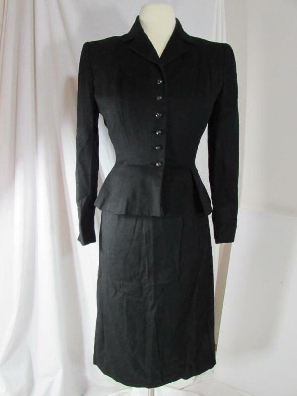 Vtg 1950s Adele Simpson 2 Pc Black Dress Suit Jacket & Skirt Wool Hollywood VLV