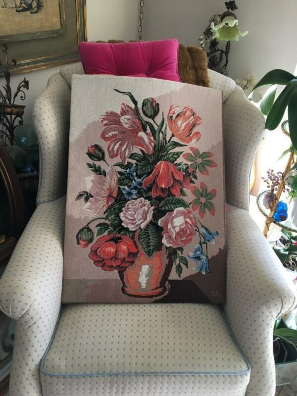 VTG DIAMANT COMPLETED FLOWER BOUQUET w VASE NEEDLEPOINT FINISHED TAPESTRY