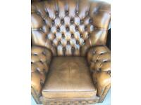 CHESTERFIELD TWO HIGH BACK CHAIRS 1970/1980