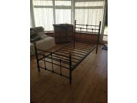 Single Bed for Sale - metal frame, black with gold details, good condition.
