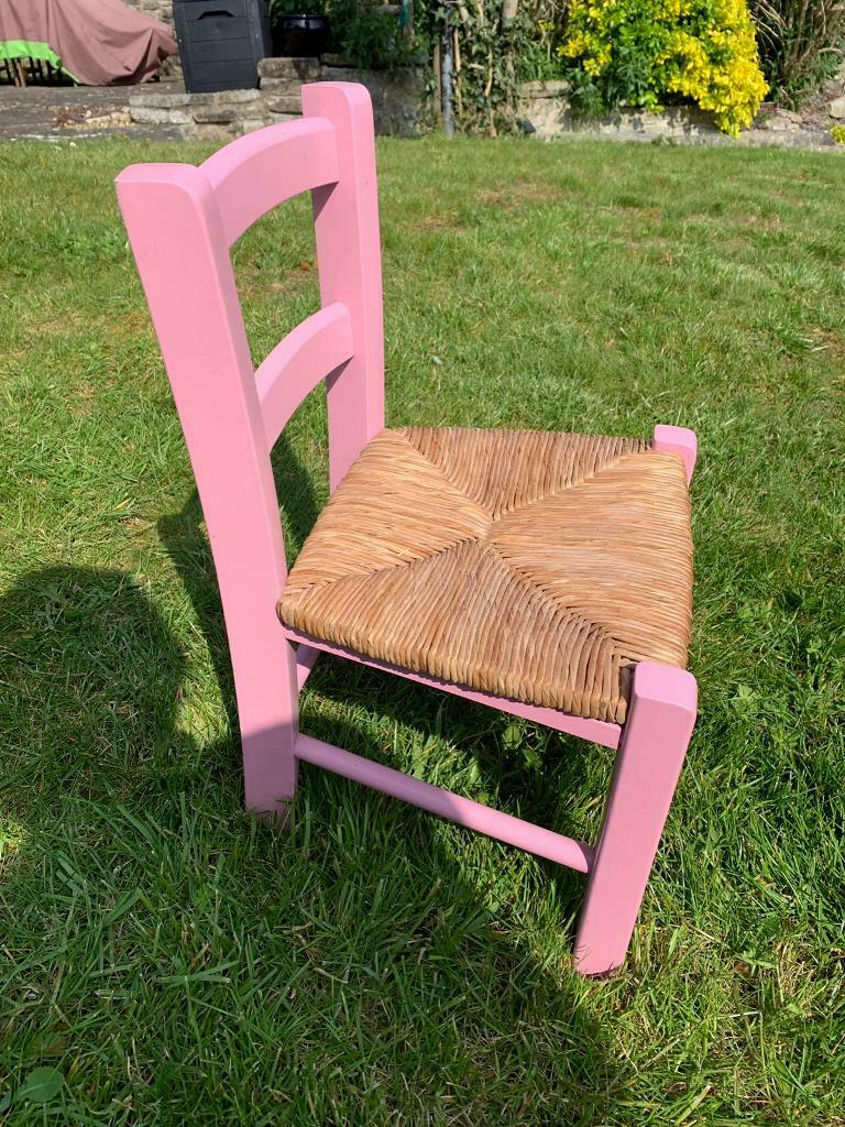 Childs pink wooden chair second hand excellent condition